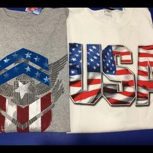 2 Men's USA Flag & Military T-shirt Size 2XL